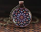 Stained glass Rose Window Pendant, stained glass image, Cathedral Necklace, Rose Window Necklace, Gothic style, Catholic Christian Jewelry