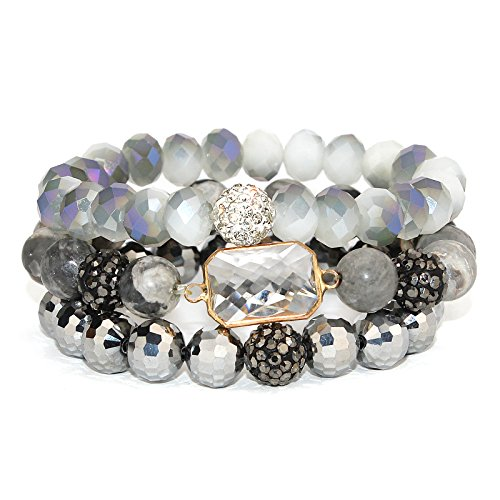 POMINA Stackable Multi Layered Natural Stone and Faceted Glass Beaded Stretch Bracelets with Pave Balls, Set of 3