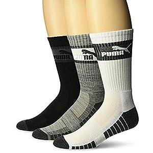 Puma 3 Pack Crew, Black (3ZZ) / White/Heather Grey, Men's Sock 10-13 (Shoe 6-12)