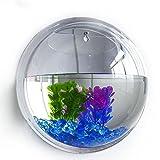 Kangkang@ 15cm Diameter Mini Acrylic Round Fish Bowls Wall Hanging Aquarium Tank Aquatic Pet Flower Plant Vase Wall Mount Fah Tank (Mirror Face)