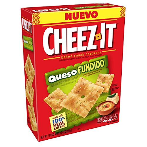 Cheez-It, Baked Snack Cheese Crackers, Queso Fundido, Made with 100% Real Cheese, 12.4oz Box