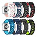 Alritz Apple Watch Series 3 Band, [10 Pack] Soft Silicone Strap Replacement Wristband with Stainless Steel Buckle Compatible Apple Watch Series 1/2/3/Nike+/Edition/Hermes (44mm)