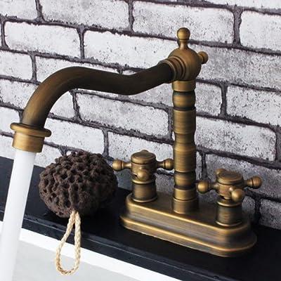 Antique Copper Solid Brass Deck Mount Center Set Bathroom Sink Faucet Double Cross Handle Control Fairfax Swivel Spout Bathtub Filler Mixer Valve Water Taps