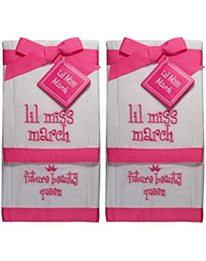 Lil Miss March Future Beauty Queen Baby Burp Bib Cloth Cotton Towel - 2 Sets of 2