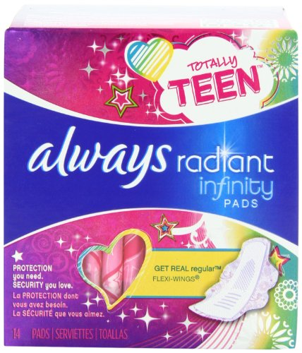 always-totally-teen-always-radiant-infinity-pads-14-count