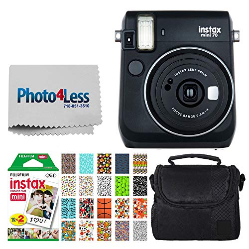 Fujifilm instax Mini 70 Instant Film Camera (Midnight Black) + Fujifilm Instax Mini Twin Pack Instant Film + Small Digital Camera/Video Case + 20 Sticker Frames for Fuji Instax Prints Sports Package