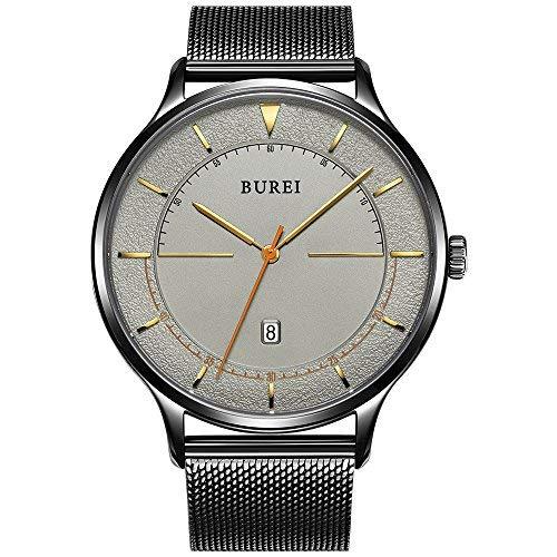 - BUREI Unisex Quartz Slim Minimalist Designer Watches with Date Mineral Crystal Mesh Strap (Dark Grey)