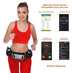 "[Voted #1 Hydration Belt] Running Fuel Belt by Runtasty; Includes accessories - 2 BPA Free Water Bottles & Runners Ebook; Fits ANY iPhone; w/Touchscreen cover; ""No Bounce"" Fit; 100% Guarantee!"