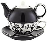 individual teapot and cup - Yedi Houseware CC376 Porcelain Damask Individual Teapot and Teacup, Black and White