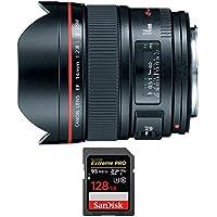 Canon (2045B002) 14mm F/2.8 II L USM Lens w/ Sandisk Extreme PRO SDXC 128GB UHS-1 Memory Card