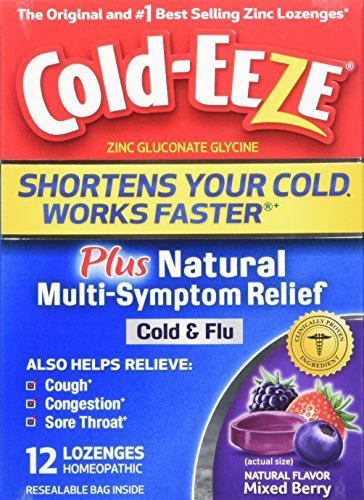 Cold-EEZE Plus Multi-Symptom Relief Cold & Flu Mixed Berry Flavor Lozenge, 12 Count, Cold and Flu Remedy, Mixed Fruit, Pharmacist Recommended zinc Lozenge