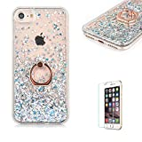 For iPhone 5/5S/SE Glitter Case,Funyye New Creative Floating Water Liquid Small Love Hearts Design Luxury Sparkly Bling Glitter Back Hard Shell Protective Case Cover With Ring Holder Protective Case for iPhone 5/5S/SE-Silver