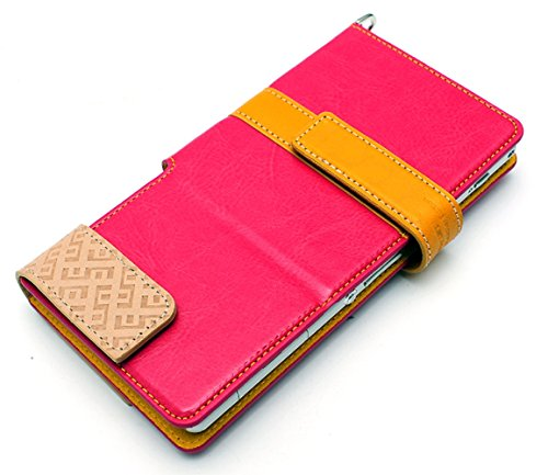 LIM's Special Two Size Dual Tone Synthetic Leather Type Diary Case for Smartphone (Hot Pink/ Size M)