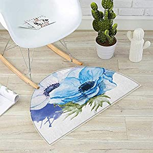"""Anemone Flower Half Round Door mats Rustic Floral Design with Blooms in Watercolors Splashes Bathroom Mat H 15.7"""" xD 23.6"""" Lavender Pale Blue Green 24"""