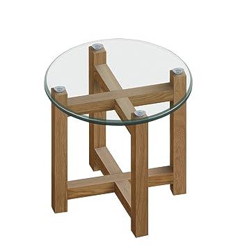 Beistelltisch Holz Glas Klarglas Gestell Eiche Massiv Rund
