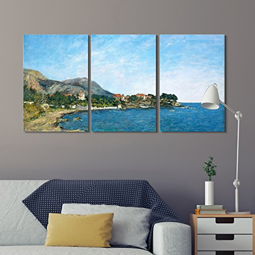 wall26 3 Panel World Famous Painting Reproduction on Canvas Wall Art - The Bay of Fourmis by Eugène Boudin - Modern Home Decor Ready to Hang - 24
