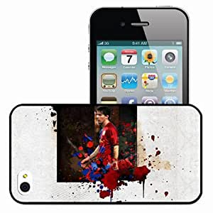 Personalized iPhone 4 4S Cell phone Case/Cover Skin MESSI Is The Best Player (Edit) Football Black