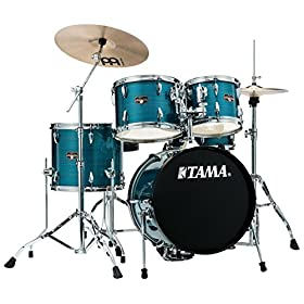 Tama Imperialstar 5-Piece Complete Drum Set with Meinl HCS Cymbals and 18 in. Bass Drum Hairline Blue 1