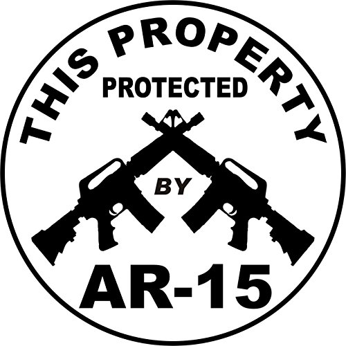 1 Pc Astonishing Unique This Property Protected by AR-15 Stickers Sign Security Surveillance Windows Decal Neighbor Warning Video Hr Decals Window Premises Hour Reflective Fence Yard Signs Size - Ban Video