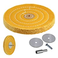 50-Ply 6-inch Heavyweight Stiff Cotton Canvas Buffing Wheel with Mandrel - Fits Drill, Die Grinder