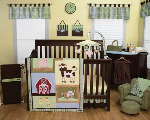 Baby Barnyard - 3 Piece Crib Set, 1 Changing Pad Cover, 1 Storage Caddy, and 2 Window Valances - Entire Set includes: (1) Crib Quilt, (1) Crib Skirt, (1) Crib Fitted Sheet, (1) Changing Pad Cover, (1) Storage Caddy, and (2) Window Valances - Decorate Your Nursery and Save Big By Bundling!