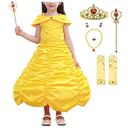 Gorgeous Halloween Costumes (Newland Little Girls Princess Dress Costume for Christmas Birthday Halloween Party (120CM(4-5T)-L, Yellow Belle with)
