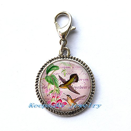 Hummingbird Collage Zipper Pull, Perfect for Necklaces, Bracelets , keychain and earrings Charm planner charm Hummingbird handmade Jewelry