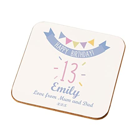Personalised 13th Birthday Coaster Gift For Her Unique Presents Girls Amazoncouk Kitchen Home
