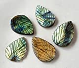 Natural LABRADORITE leaf shaped carving gemstone,very nice quality,21x30 mm - 21x33 mm Approx, 5 pieces