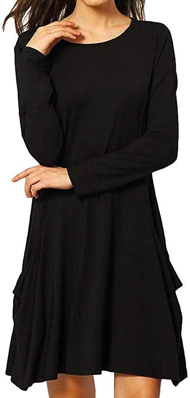 Mitlfuny Mujeres Vestido de Algodón Elegante Verano Ropa Mujer Manga Larga O-Collar Colores Sólido Vestidos Suelto Plisado Midi Largo Vestidos con Bolsillos: Amazon.es: Ropa y accesorios