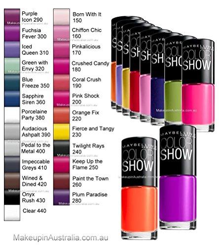 lot of 10 maybelline color show finger nail polish no repeat colors fast dry fingernail polish. Black Bedroom Furniture Sets. Home Design Ideas