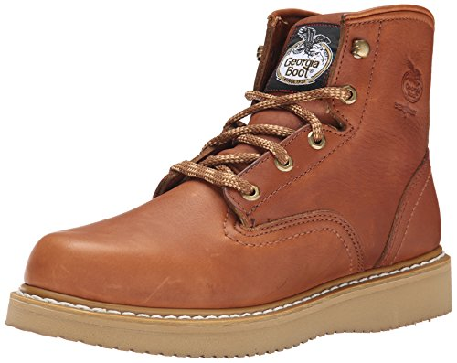 Georgia Men's 6'' Wedge Work Boot, Barracuda Gold, 9 M US
