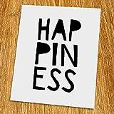 Happiness Print (Unframed), Nursery Wall Art, Scandinavian, Modern, Playroom Decor, Black and White, 8x10