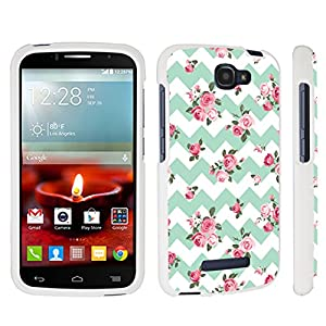 DuroCase ® Alcatel OneTouch Fierce 2 7040T / POP Icon A564C (2014 Released) Hard Case White - (Mint Pink Roses Chevron)