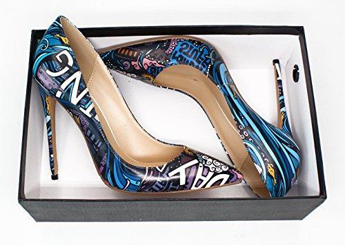 Guoar Femmes Sexy Bout Pointu Graffiti 12cm Haut Talon Pompes Chaussures Océan
