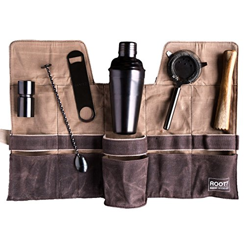 Root Premium Modern Titanium Coated Bartender's Full Collection, Home and Professional Cocktail Making Set, 19oz Shaker, Bar Blade, Jigger, Wood Muddler, Strainer, Spoon, Wax Canvas Bag by Root7 by Root