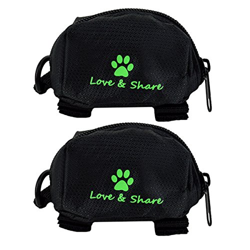 (Budd Pets Dog Poop Bag Holder, 2 Pieces Oxford Fabric Waste Bag Dispenser Pick-up Bag Zippered Pouch (Black))