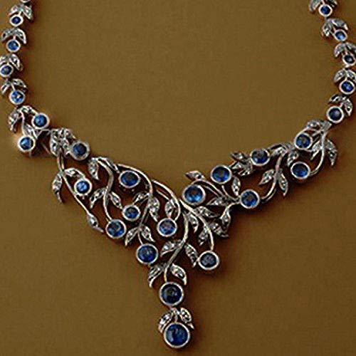 costozon victorian necklace 28.5 Tcw Blue Sapphire Rose Cut Diamond 925 Sterling Silver vintage art deco jewelry