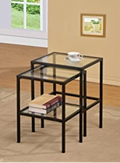 Black Metal Glass Side End Nesting Tables With Shelf Set Of 2