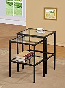 Amazing Black Metal Glass Side End Nesting Tables With Shelf (Set Of 2)