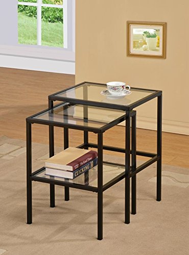 Black Metal Glass Side End Nesting Tables With Shelf (Set Of 2)