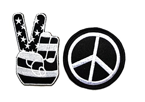Set 2 Black USA Peace Fingers Victory Sign American Flag Embroidered Iron on Patch DIY Patch Applique for Clothes Great as Happy Birthday ()