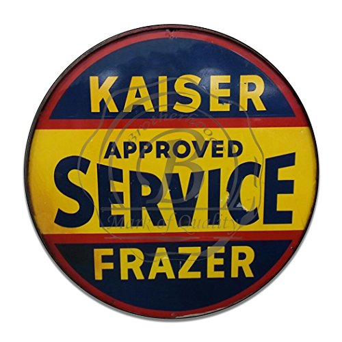 Brotherhood Vintage Gas Signs Reproduction Car Company Vintage Metal Signs Round Metal Tin Sign For Garage & Home Decor (Kaiser Frazer Approved Service)