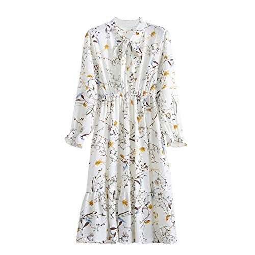 Lowprofile Chiffon Dress with Bow Tie Women Loose Bell Sleeve Lightwight Vintage Boho Midi Dress -