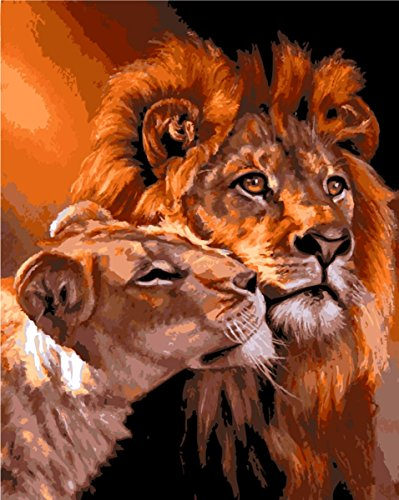 YEESAM ART Paint by Number Kits for Adults Kids - Lion Mother 16x20 inch Linen Canvas (Without Frame)