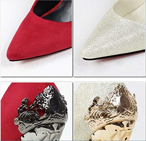 Colores Los Moda De Damas Metal Nueve 9 Friegan Honor Solos La Nupciales Rojos Colocación Liangxie Zapatos Alto Tacón Boda Suede aBdUaq