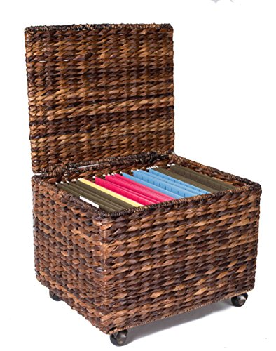 BirdRock Home Seagrass Rolling File Cabinet | Storage | Home Office Decor | Abaca | Espresso (Filing Rattan Cabinet)