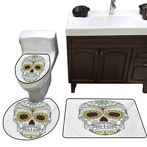 (3 Piece Extended Bath mat Set Sugar Skull Folkloric Calavera Elements Floral Day of The Dead Theme Figure Elongated Toilet Lid Cover Set Apple Green Brown Seafoam)