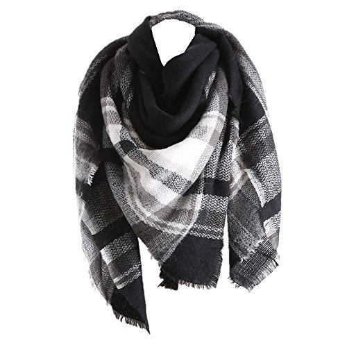 35f38344131c2 RACHAPE Women Elegant Warm Blanket Scarf Plaid Wrap Shawl Winter