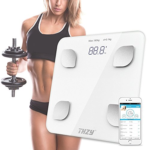 Bluetooth Body Fat Scale,THZY Digital Body Weight Bathroom Scale with IOS and Android App Smart Wireless Scale for Body weight, Body Fat, Water, Muscle Mass, BMI, BMR, Bone Mass and Visceral Fat